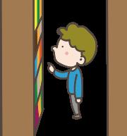本棚と本棚の間で本を探している男の子のイラスト