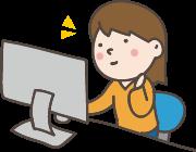 パソコンで本を検索している女の子のイラスト