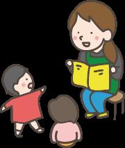 子ども達に読み聞かせをしているイラスト