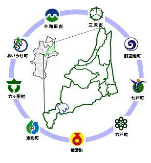 おいらせ町、十和田市、三沢市、野辺地町、七戸町、六戸町、横浜町、東北町、六ケ所村の地図