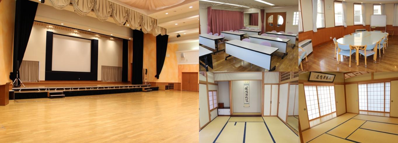みなくる館の施設写真。みなくるホール、なんでも創作室、よろず工房、和室。
